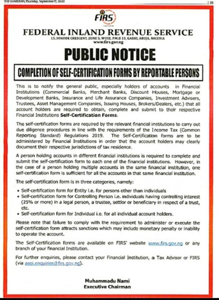 FIRS statement directing 'reportable persons' to obtain, complete and submit Self-Certification forms to 'Reportable Financial Institutions'